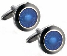 Executive Blue Round Enamel Mens Gift double Cuff links by CUFFLINKS.DIRECT