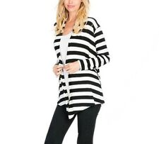 NEW WOMENS BOUTIQUE WHITE AND BLACK STRIPE KNIT CARDIGAN SMALL MEDIUM OR LARGE