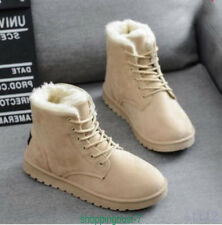 Winter Womens Shoes Lace Up Casual Flat Faux Suede Fur Linning Ankle Snow Boots