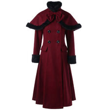 Women Double-Breasted Wool Blend Jacket Fur Collar Slim Trench Long Overcoat Top