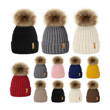 Winter Warm Hat Hot Ladies Women Fashion Bobble Beanie 1Pcs Knitted Faux Fur Cap