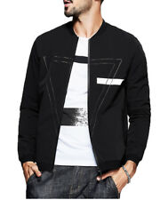 Fashion Mens Clothes Jackets Zipper Thin Letter Print Slim Fit Baseball Coats