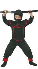 Boys Ninja Warrior Black/Red Samurai Book Day Fancy Dress Costume Outfit