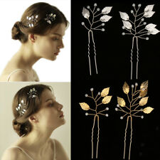 2pcs Fashion Wedding Bridal Leaves Hair Pins Bridesmaid Clips Side Comb Jewelry