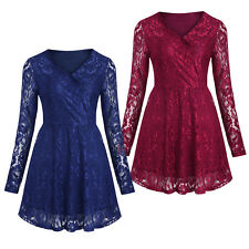 Women's Lace Overlay Long Sleeves Dress Prom Evening Party Cocktail Bridesmaid