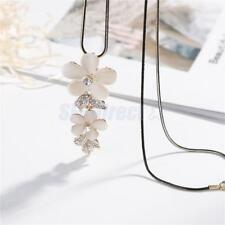 Flower Leaf Pendant Necklace with Long Chain for Women Girls Fashion Jewelry