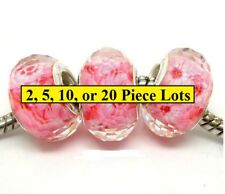 Silver Authentic Murano Pink Flower  Beads For Big Hole Bracelet