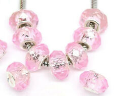 Silver & Pink Facet Authentic Murano Glass Crystal Beads For Big Hole Bracelet