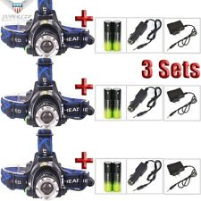 3Sets12000LUMEN  T6 LED Zoomable Headlamp Head-lamp Flashlight+Charger+18650 USA
