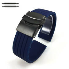 Blue Rubber Silicone Watch Band Strap Double Locking Black PVD Steel Buckle 4016