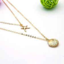 Silver or Gold Plated Seashell Starfish Double Pendant Necklace in Gift Bag/Box