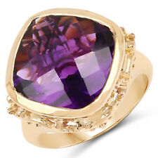 14K Yellow Gold Plated 8.40 Ct Genuine Amethyst 925 Sterling Silver Wedding Ring