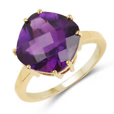 14K Yellow Gold Plated 5.30Ct Genuine Amethyst 925 Sterling Silver Cocktail Ring