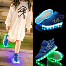 Kids Boys Girls LED Shoes Light Up Luminous Children Trainers Sneakers Blue
