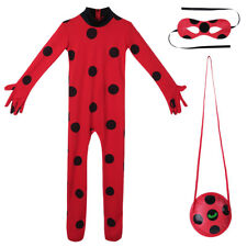 Kids Girls Ladybug Cosplay Costume Jumpsuit+Mask+Bag Outfits Party Fancy Dress