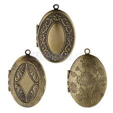 Creative Antique Bronze Openable Oval Pendant Photo Frame Locket DIY Necklace
