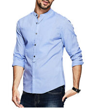 100% Cotton Mens Casual Shirts Clothes Stand collar Long Sleeve Solid T-shirts