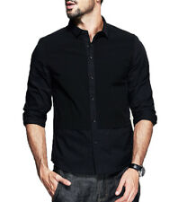 Mens Casual Shirts Patchwork Slim Fitted Long Sleeve Clothing Wear Tops T-shirts