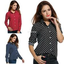 Women's Long Sleeve Polka Dot Casual Loose Button Down Shirt EN24H 02