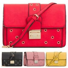 New Ladies Faux Leather Hole Punch Detail Chain Strap Shoulder Bag Handbag