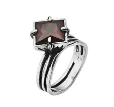 Women Fine Sterling Silver 925 Ring Solitaire red Garnet cz