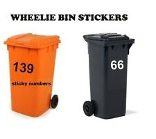 "Wheelie Bin Numbers, Stickers Self Adhesive Stick On 6"", sticky numbers"