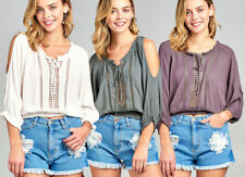 Boho Chic PEASANT TOP Crochet Tie Front Open Sleeves Hippie Gypsy Blouse Shirt