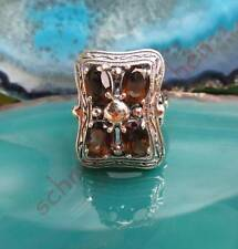 Ring Victorian Style Sterling Silver 925 with 4 Stones Smoky Quartz Brown