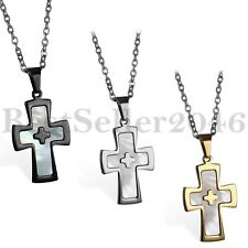 Mens Boys Cross Inlaid Abalone Shell Pendant Stainless Steel Necklace Chain 22""