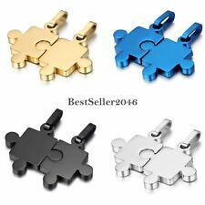 His & Hers Stainless Steel Matching Love Puzzle Piece Couple Pendant Necklaces