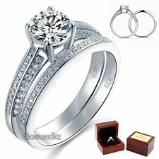 Sterling 925 Silver Bridal Engagement Ring Set 1 Ct Round Lab Created Diamond