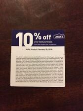 LOWES 10% OFF COUPON expiration Feb 28 physical coupon will be sent