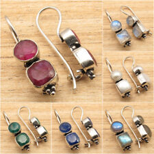 Simulated RUBY Gemstones Choices ! 925 Silver Plated Ethnic HOOK Earrings