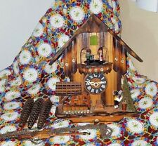 BLACK FOREST ONE DAY MUSICAL CLOCK CHALET DANCERS WATER WHEEL DR ZHIVAGO THEME