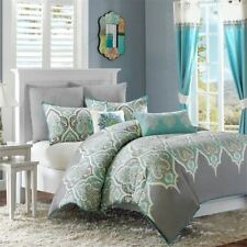 Posh Teal & Grey Updated Paisley Duvet Cover Set AND Decorative Pillows