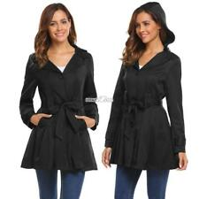 Women Pleated Hem Single Breasted Belted Solid Windbreak Trench Coat with RR6