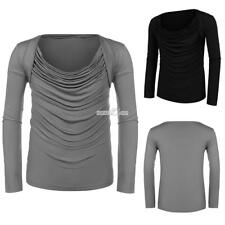 Men Cowl Collar Long Sleeve Draped Solid Casual T-Shirts RR6
