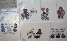 Choice Vintage Olde Towne Completed Cross Stitch for Projects Hearts Bears