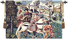 Hunting Scene Belgian Medieval Knight and Horse Woven Tapestry Wall Hanging