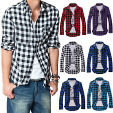 Men's Slim Fit Casual Dress Plaid Colorful Long Sleeve Check Shirt Korean Style
