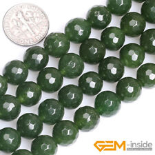 Natural Dark Green Taiwan Jade Gemstone Faceted Round Beads For Jewelry Making