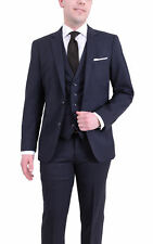 Arthur Black Extra Slim Fit Navy Pinstriped Two Button Three Piece Wool Suit