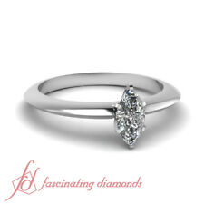 1/2 Carat Marquise Cut SI2-E Color Diamond Solitaire Knife Edge Engagement Ring