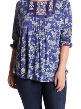 Women's Lucky Brand Floral Peasant  Blouse  3X   Embroidery