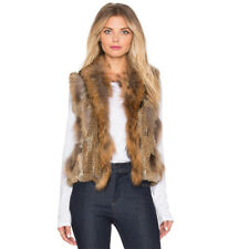Real Knitted Knit Rabbit Fur Vest Women Gilet Raccoon Collar Waistcoat Jacket