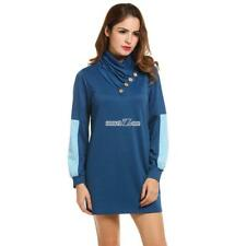 Women Cowl Collar Button Long Sleeve Patchwork Pullover Mini Dress RR6