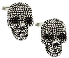 3D Gothic Silver Skeleton Skull Mens Gift Goth Cuff Links By CUFFLINKS DIRECT