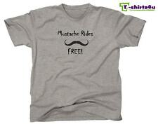 MUSTACHE RIDES FREE Funny Stache Sex Dirty Party Tee - T-Shirt - NEW - Grey
