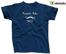 MUSTACHE RIDES FREE Funny Stache Sex Dirty Party Tee - T-Shirt - NEW - Blue