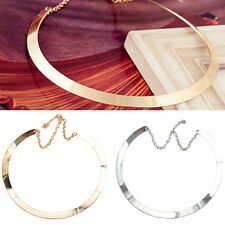AU_ Girl Lady Perfect Thin Mirrored Collar Necklace Choker Gold Silver Plated Ci